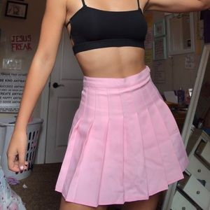 Pink Pleated mini-skirt